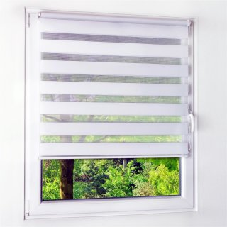 Duo-Rollo - Sonnenschutz & Sichtschutz als Duo Rollo - Ohne Bohren - 60 cm x 150 cm weiß