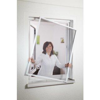 Compact flächenbündig - Fliegengitter Alu Fensterbausatz 130 x 150 cm weiß